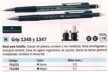 ENVASE DE 12 UNIDADES FABER CASTELL PORTAMINAS GRIP 1345 RECARGABLE TRAZO 0,5 MM HB GOMA BORRAR 134563