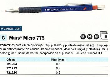 ENVASE DE 10 UNIDADES STAEDTLER PORTAMINAS MARS MICRO 775 TECNICO RECARGABLE TRAZO 0,9 MM CON GOMA 775 09T