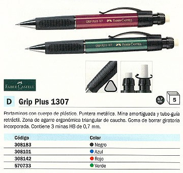 ENVASE DE 5 UNIDADESFABER CASTELL PORTAMINAS GRIP PLUS 1307 RECARGABLE TRAZO 0.7 MM 3 MINAS HB AZUL CON GOMA 130732