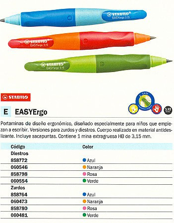 STABILO PORTAMINAS EASYERGO RECARGABLE 3,15 MM HB SACAPUNTAS 7 B 46873 5