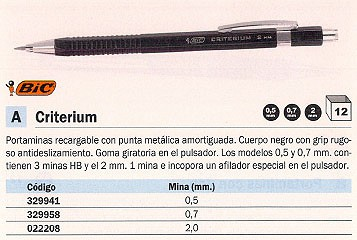 ENVASE DE 12 UNIDADES BIC PORTAMINAS CRITERIUM RECARGABLE TRAZO 2 MM NEGRO PULSADOR+AFILADOR 893278