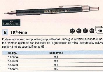 ENVASE DE 10 UNIDADES FABER CASTELL PORTAMINAS TK-FINE TECNICO RECARGABLE TRAZO 0,9 MM HB RETRÁCTIL DE BOTÓN Y GOMA 136900