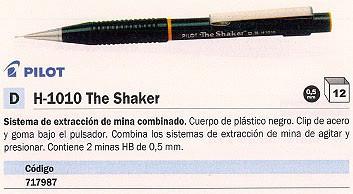 ENVASE DE 12 UNIDADES PILOT PORTAMINAS H-1010 THE SHAKER TRAZO 0,5 MM CONTIENE 2 MINAS HB NEGRO RECARGABLE H-1010-B