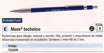 ENVASE DE 5 UNIDADES STAEDTLER PORTAMINAS MARS TECHNICO RECARGABLE MINA 2 MM CONTIENE 1 MINA HB 780C
