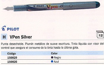 PILOT PLUMA DESECHABLE VPEN SILVER NEGRO TINTA LIQUIDA METALICO SVP-4M-B