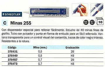 ENVASE DE 10 UNIDADES STAEDTLER MINA 255 ESTUCHE 40UD TRAZO 0.7 MM HB CON PULSADOR 176412
