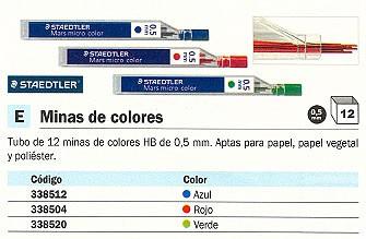 ENVASE DE 12 UNIDADES STAEDTLER MINA ESTUCHE 12UD TRAZO 0.5 MM HB AZUL 25405-3