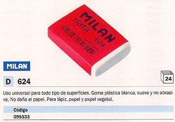 ENVASE DE 24 UNIDADES MILAN GOMA DE BORRAR CPM624 PLASTICA BLANCA PARA LÁPIZ, PAPEL Y PAPEL VEGETAL CPM624