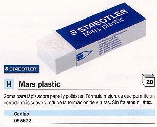 ENVASE DE 20 UNIDADES STAEDTLER GOMA DE BORRAR MARS PLASTIC BLANCA SUAVE SIN VIRUTAS 52650