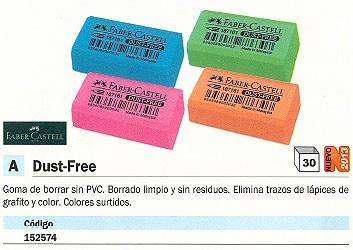 ENVASE DE 30 UNIDADES FABER CASTELL GOMA DE BORRAR DUST FREE SIN PVC COLORES SURTIDOS 188730D
