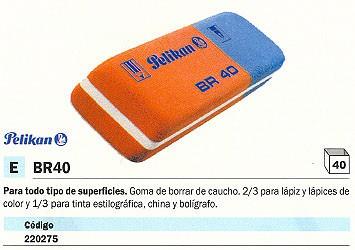 PELIKAN GOMA DE BORRAR BR40 CAUCHO ROJO,AZUL Y BLANCO PARA TODO TIPO DE SUPERFICIES 119302