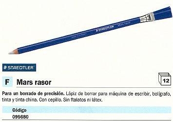 ENVASE DE 12 UNIDADES STAEDTLER BORRADOR DE PRECISION MARS RASOR BLANCO PARA MAQUINA DE ESCRIBIR, TINTA, BOLÍGRAFO 52661
