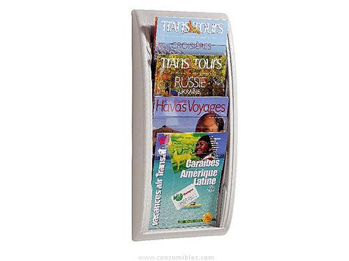 Expositores murales PAPERFLOW EXPOSITOR PARED 4 CASILLAS 290X650X95 ALUMINIO 4061.35