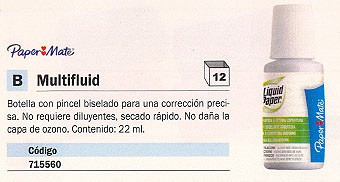 PAPER MATE CORRECTOR LIQUIDO MULTIFLUID PINCEL BISELADO 22 ML SECADO RAPIDO S090010