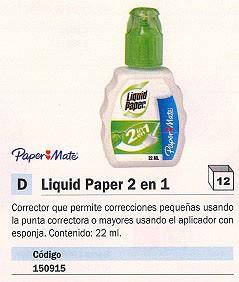 Corrector liquido ENVASE DE 12 UNIDADES PAPER MATE CORRECTOR LIQUIDO LIQUID PAPER 2 EN 1 PUNTA Y APLICADOR 22ML S090013