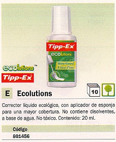 TIPP-EX CORRECTOR LIQUIDO ECOLUTIONS APLICADOR ESPONJA 20 ML 880682
