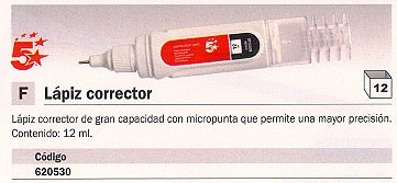 5 STAR LÁPIZ CORRECTOR MICROPUNTA 12ML 0056507