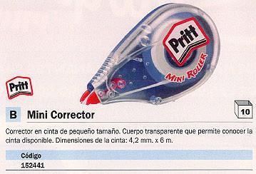 PRITT CINTA CORRECTORA MINI ROLLER 4.2 MMX6M CUERPO TRANSLUCIDO 2038183