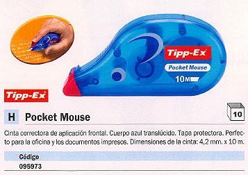 ENVASE DE 10 UNIDADES TIPP EX CINTA CORRECTORA POCKET MOUSE 4,2 MM X 10M FRONTAL CON TAPA PROTECTORA 8207901