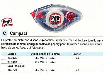 PRITT CINTA CORRECTORA COMPACT APLICACIÓN FRONTAL 4.2 MMX 8,5M INVISIBLE EN FAXES FOTOCOPIAS 1566948