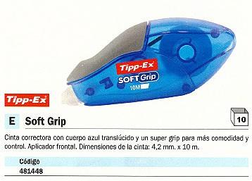 ENVASE DE 10 UNIDADES TIPP EX CINTA CORRECTORA SOFT GRIP APLICACION FRONTAL 4,2 MMX10M CUERPO AZUL TRANSLUCIDO 895933