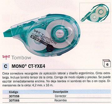 TOMBOW RECAMBIO CINTA CORRECTORA MONO CT-YXE4 4,2MMX16M INVISIBLE EN FAXES Y FOTOCOPIAS 11008705