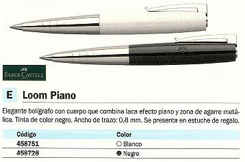 FABER CASTELL BOLÍGRAFO LOOM PIANO NEGRO LACA EFECTO PIANO TINTA NEGRA CON ESTUCHE 149010