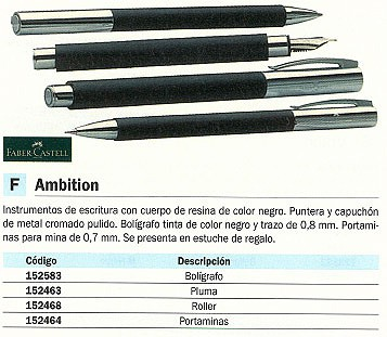 FABER CASTELL ROLLER AMBITION. COLOR NEGRO. REF.148110