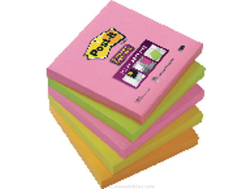 POST IT NOTAS ADHESIVAS SUPER STICKY PACK 5 BLOCS 90H NEON SURTIDOS 76X76 MM 70005253193