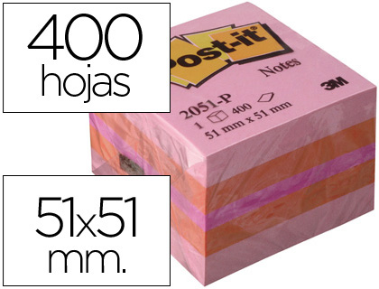 POST-IT CUBO NOTAS ADHESIVAS 400H ROSA 51X51MM FT510091737