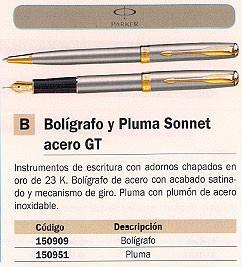 PARKER PLUMA SONNET ACERO GT. PLUMA CON PLUMIN DE ACERO INOX. CHAPADO EN ORO 23 K. REF.S0809110