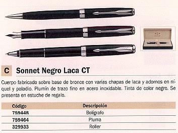 PARKER BOLÍGRAFO REGALO SONNET MEGRO LACA CT NEGRO TINTA NEGRA ESTUCHE REGALO S0808830