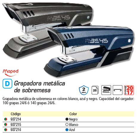MAPED GRAPADORA HALF STRIP ADVANCED METAL 24/6 26/6 COLOR AZUL 354512