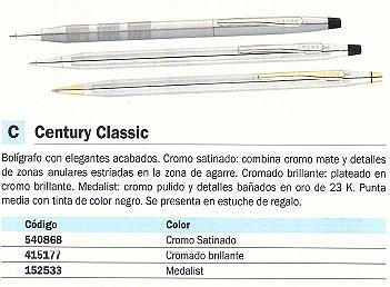 CROSS BOLÍGRAFO RETRACTIL CENTURY CLASSIC CROMADO CROMADO BRILLANTE PUNTA MEDIA TINTA NEGRA 3502