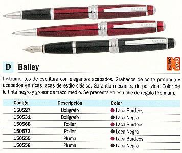 CROSS BOLÍGRAFO BAILEY LACA BURDEOS TRAZO MEDIO TINTA NEGRA AT0452-8