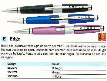 CROSS ROLLER EDGE TINTA GEL. COLOR NEGRO. REF.AT0555-2