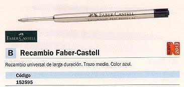 FABER CASTELL RECAMBIO BOLÍGRAFO RECAMBIO FABER CASTELL TRAZO MEDIO PUNTA MEDIA AZUL 148741