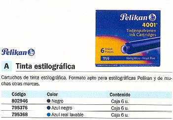 PELIKAN CARTUCHOS TINTA 6 UD AZUL -NEGRO TP-6 151307