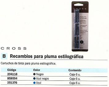 CROSS TINTAS CARTUCHOS PARA PLUMA NEGRO 6 UD 8921