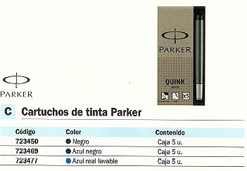 PARKER CARTUCHO TINTA 5 UD AZUL REAL LAVABLE S0116210