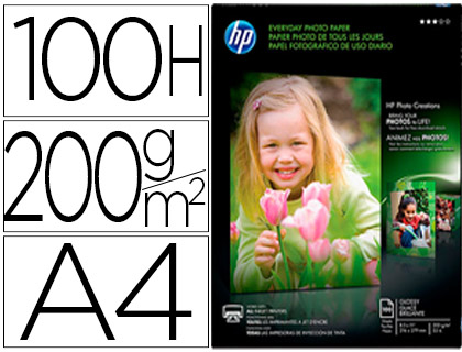 PAPEL FOTOGRAFICO SEMI-GLOSSY 1N 70 GR-M2 DIN A4 100 HOJAS HP R08_15