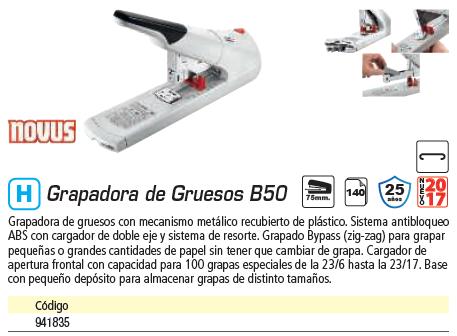 NOVUS GRAPADORA DE GRUESOS B50 140 HOJAS 023-0060