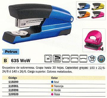 PETRUS GRAPADORA SOBREMESA 635 WOW 30 HOJAS NARANJA CARGA SUPERIOR 623594
