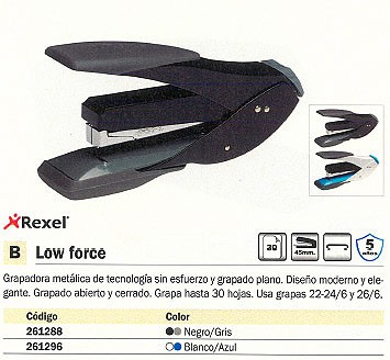 REXEL GRAPADORA SOBREMESA LOW FORCE 30 HOJAS NEGRO-GRIS 2102548