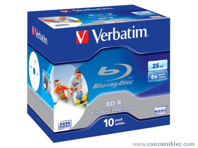 VERBATIM BLU-RAY DISC CAJA 10 6X 25 GB 43713