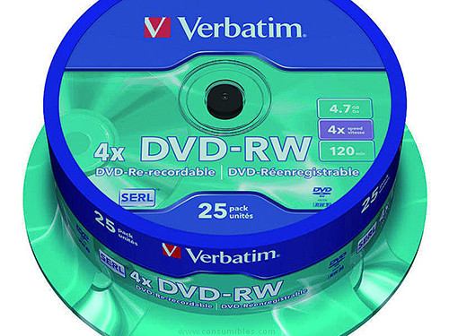 VERBATIM DVD+RW ADVANCED SERL BOBINA 25 4X 4.7GB 43639