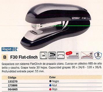 RAPID GRAPADORA F30 FLAT-CLINCH 30 HOJAS AZUL 55 MM 23256501