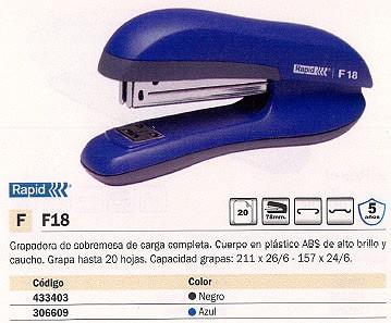 RAPID GRAPADORA F18 30 HOJAS NEGRO CARGA COMPLETA 78 MM 23811101