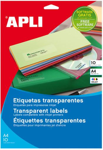 ETIQUETA ADHESIVA APLI TRANSLUCIDAS 1225 TAMAÑO 210X297 MM - FOTOCOPIADORA -LASER CAJA CON 20 ETIQUETAS