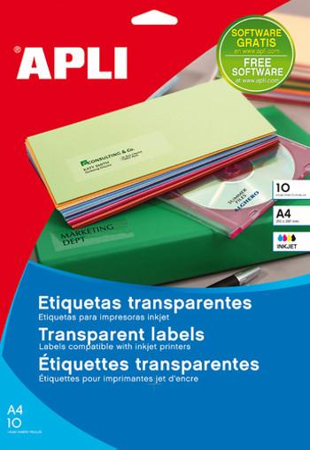ETIQUETAS ADHESIVAS APLI TRANSPARENTES POLIESTER PARA IMPRESORA INK-JET 210X297 MM PRESENTADAS EN CARPETAS DE 10